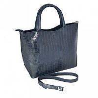 Синяя деловая сумка М75-11/39 женская под крокодила