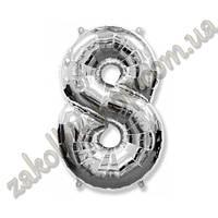 """Фольгированные воздушные шары, цифра """"8"""", размер 32 дюйма/74 см, цвет: серебро, 1 штука"""