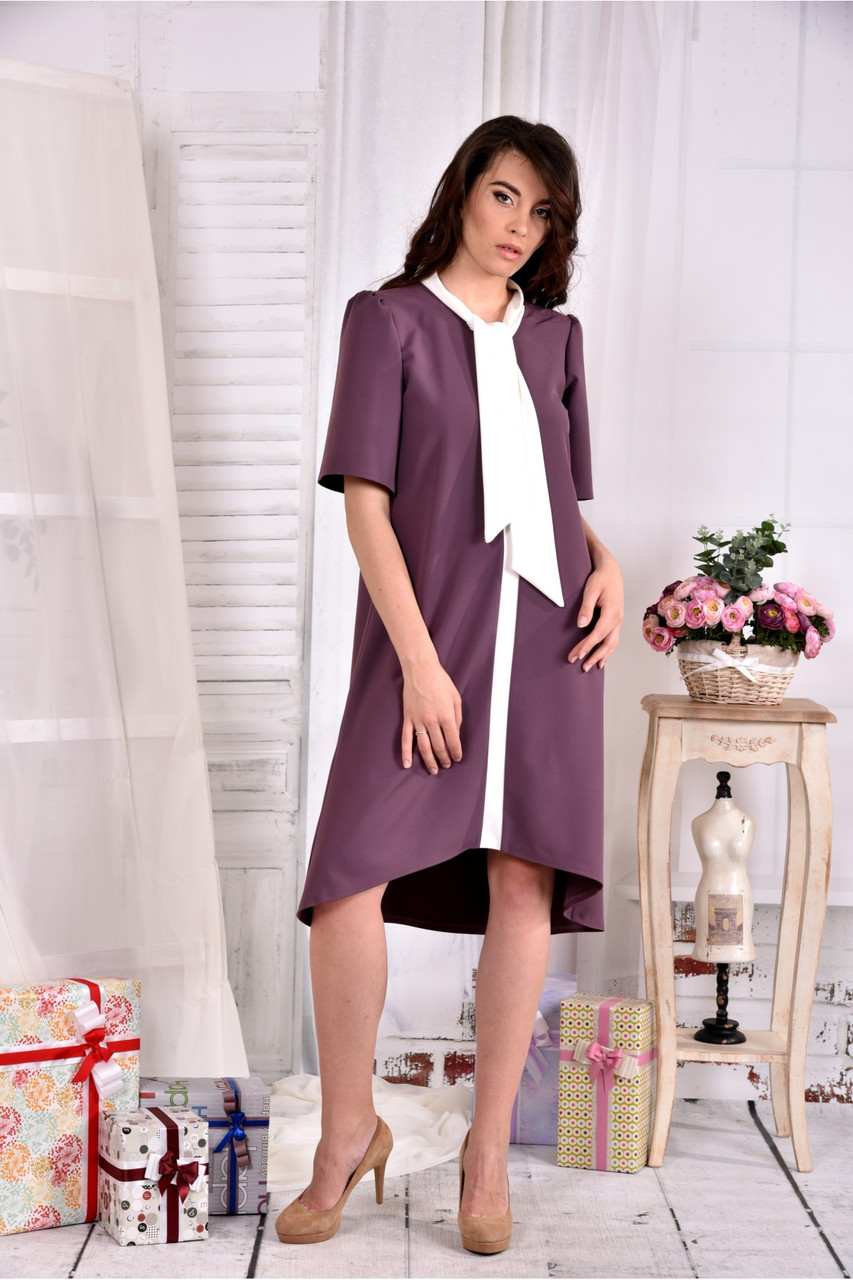 Женское платье асимметрия 0556 цвет бисквит размер 42-74 / больших размеров