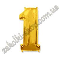 """Фольгированные воздушные шары, цифра """"1"""", размер 40 дюймов/102 см, цвет: золото, можно надувать гелием, 1 штук"""