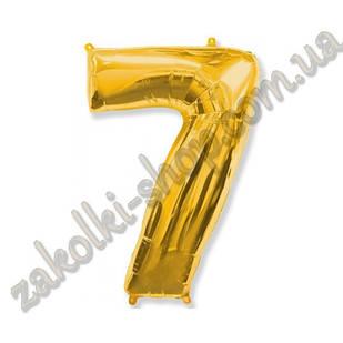 """Фольговані повітряні кулі, цифра """"7"""", розмір 40 дюймів/102 см, колір: золото, можна надувати гелієм, 1 штук"""