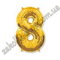 """Фольгированные воздушные шары, цифра """"8"""", размер 40 дюймов/102 см, цвет: золото, можно надувать гелием, 1 штук"""