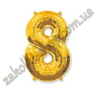 """Фольговані повітряні кулі, цифра """"8"""", розмір 40 дюймів/102 см, колір: золото, можна надувати гелієм, 1 штук"""