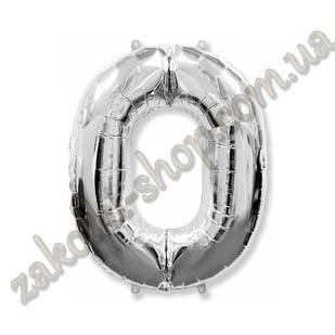 """Фольговані повітряні кулі, цифра """"0"""", розмір 40 дюймів/102 см, колір: срібло, можна надувати гелієм, 1 шту"""