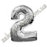 """Фольгированные воздушные шары, цифра """"2"""", размер 40 дюймов/102 см, цвет: серебро, можно надувать гелием, 1 шту"""