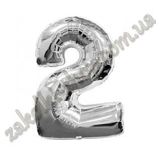 """Фольговані повітряні кулі, цифра """"2"""", розмір 40 дюймів/102 см, колір: срібло, можна надувати гелієм, 1 шту"""