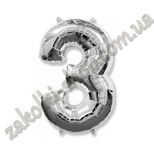 """Фольговані повітряні кулі, цифра """"3"""", розмір 40 дюймів/102 см, колір: срібло, можна надувати гелієм,1 штук"""