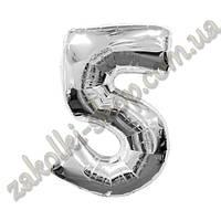 """Фольгированные воздушные шары, цифра """"5"""", размер 40 дюймов/102 см, цвет: серебро, можно надувать гелием,1 штук"""
