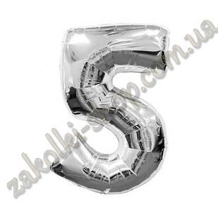 """Фольговані повітряні кулі, цифра """"5"""", розмір 40 дюймів/102 см, колір: срібло, можна надувати гелієм,1 штук"""