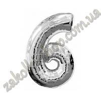 """Фольгированные воздушные шары, цифра """"6"""", размер 40 дюймов/102 см, цвет: серебро, можно надувать гелием,1 штук"""