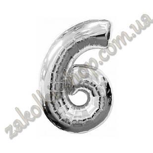 """Фольговані повітряні кулі, цифра """"6"""", розмір 40 дюймів/102 см, колір: срібло, можна надувати гелієм,1 штук"""