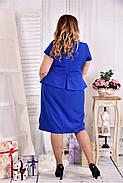 Женское платье с баской 0555 цвет электрик размер 42-74 / больших размеров , фото 2