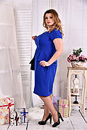 Женское платье с баской 0555 цвет электрик размер 42-74 / больших размеров , фото 4