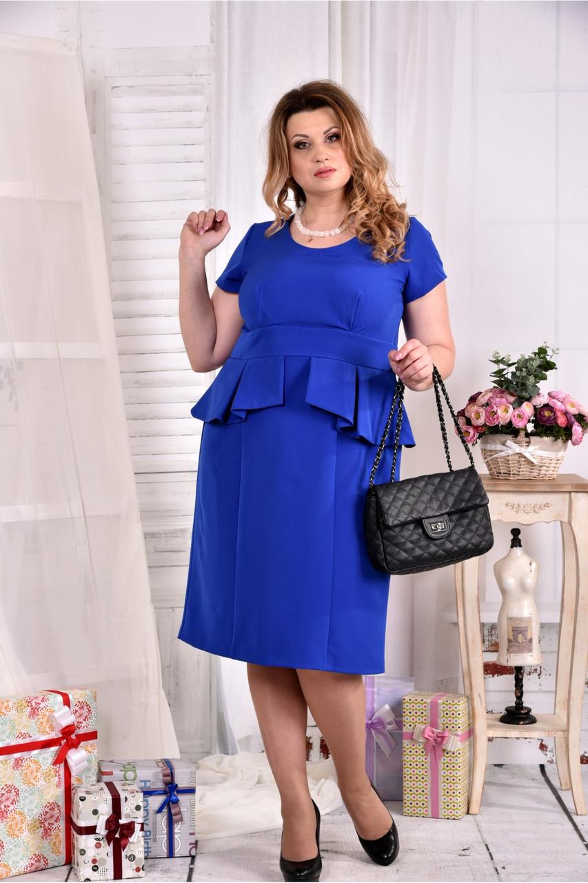 Женское платье с баской 0555 цвет электрик размер 42-74 / больших размеров