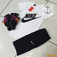 "Летний комплект мужской белый ""Nike"", найк"