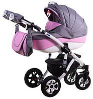 Детская универсальная коляска 2 в 1 ADAMEX Erika кожа 50% (Серый лен - розовая кожа (квадратики) 366S)