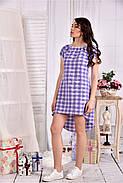 Женское легкое платье в клетку на лето 0553 размер 42-74, фото 3