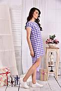 Женское легкое платье в клетку на лето 0553 размер 42-74, фото 4