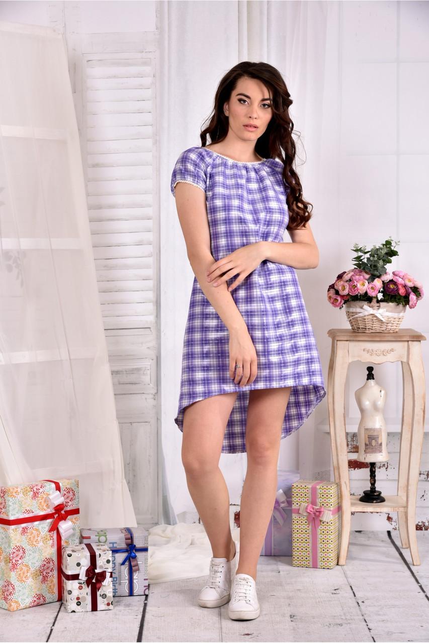Женское легкое платье в клетку на лето 0553 размер 42-74