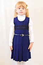Детский школьный модный красивый сарафан черный, синий с поясом, фото 3