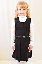 Детский школьный модный красивый сарафан черный, синий с поясом, фото 2