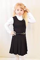 Детский школьный модный красивый сарафан черный, синий с поясом