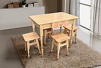 Комплект кухонный стол+4 табурета бук светлый (массив бука)