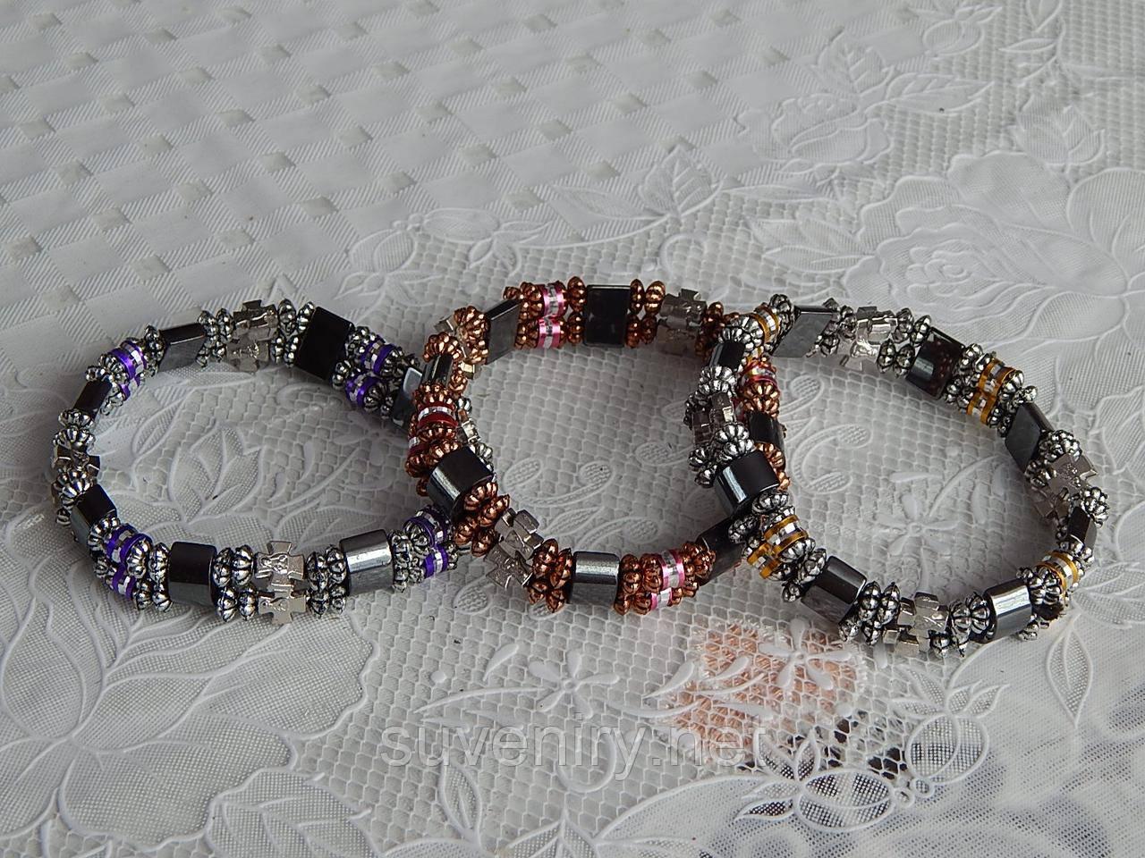 Молодежный браслет с крестиком и с гематитовыми вставками, фото 1