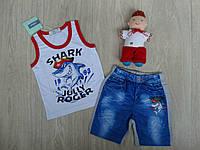 """Летний трикотажный костюм """"Shark"""" для мальчика белый р.6-12 мес"""
