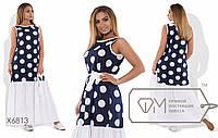 Платье макси прямое из принтованного коттона без рукавов под пояс с широкой однотонной оборкой по подолу X6816
