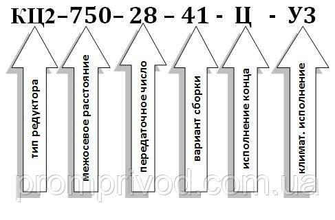 Условное обозначение  редуктора типа КЦ2-750:
