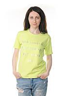 Женская  салатовая футболка с буквами