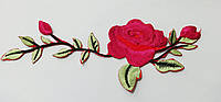 Аппликация (термо)  веточка  розы малин.  19х7 см