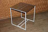 Стол журнальный стеклянный Куб белый 450*450*500