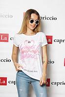 Женская летняя футболка  с фламинго