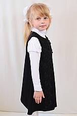 Детский школьный стильный красивый сарафан с кружевными цветами, синий и черный, фото 3