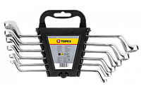 Topex Ключи накидные изогнутые, 6-22 мм, набор 8 шт.