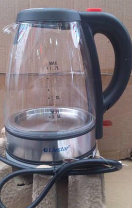 Электрочайник LIVSTAR LSU-1122 (стекло) 1.8 л.  (подсветка, 5 светодиодных ламп), фото 2