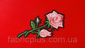 Аппликация (термо) розовая роза 10х4,8 см