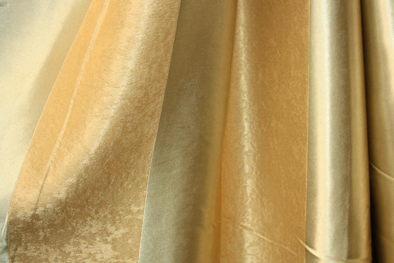 Двусторонние шторы Blackout Полоска в золотистом цвете