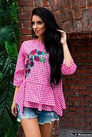 Женская яркая хлопковая блузка с вышивкой  с воланами короткий рукав