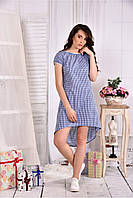 Женское легкое платье в клетку на лето 0553 цвет синий размер 42-74