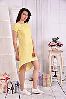 Женское легкое платье в клетку на лето 0553 цвет желтый размер 42-74 / больших размеров