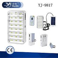 Лампа-фонарь Yajia YJ-9817 солнечная панель, пульт ДУ, аккумулятор
