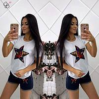 Костюм женский двойка шорты и футболка с нашивкой Звезда белая футболка