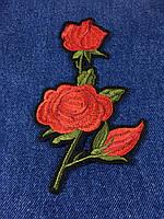 Нашивка Роза 3 бутона  цвет красный