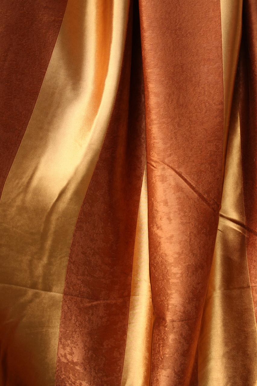 Двусторонние шторы Blackout Полоска золото+бронза
