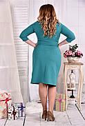 Женское платье из костюмки 0552 цвет бирюза размер 42-74 / больших размеров , фото 2