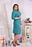 Женское платье из костюмки 0552 цвет бирюза размер 42-74 / больших размеров , фото 3
