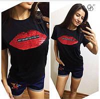 Костюм женский двойка шорты и футболка с нашивкой красные Губы черная футболка